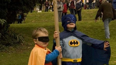 Costumed heroes Batman and Robin at Knowle during November's mass march