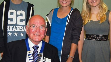 King's School students Tom Forrest-Robinson, Lauren Pearcy and Frankie Elliott with Mayor Glyn Dobso