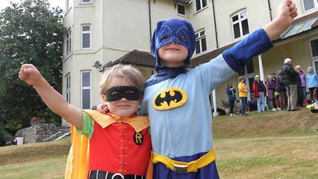 Caped Crusaders Oscar three and four year old Jake Burston at the Save Our Sidmouth picnic on Sunday