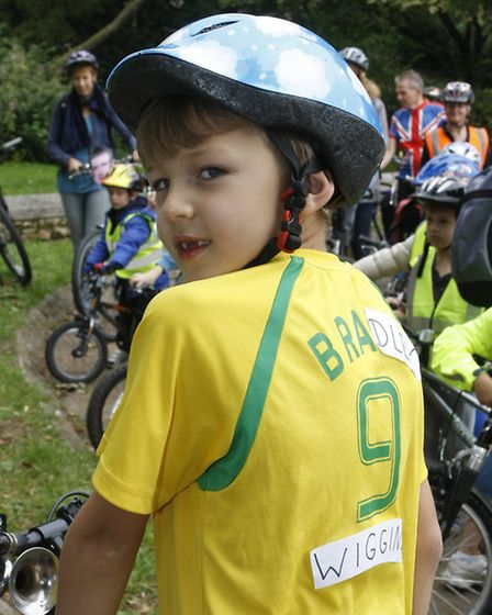 Finn Upsher as Sir Bradley Wiggins at the Ottery community bike ride. Photo by Terry Ife ref sho 700