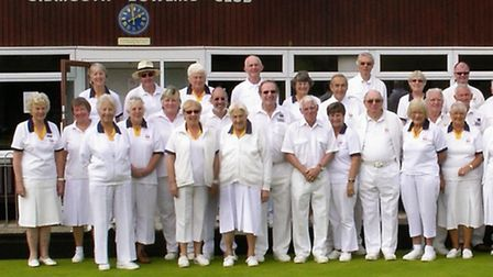 Sidmouth bowlers before their final meeting of the outdoor season
