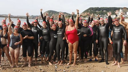 A group photo before the start of the first Sidmouth to Ladram Bay swim. Photo by Terry Ife shs 6216