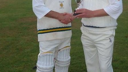 The Ken Baker Cup being presented by David Birch on left (Tipton captain) to Richard Coombs (N Poppl