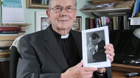 Rev Allan Bowers is pictured with his latest book this week-Herald of God. Photo by Simon Horn. Ref