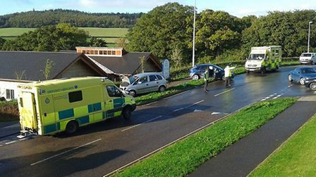 Two cars collided outside Sidmouth Waitrose