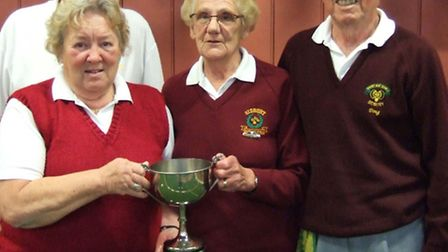 Picture of the Ottery St Mary short mat bowls winning team, Roy and Mary Vincent and Doug and Veda F
