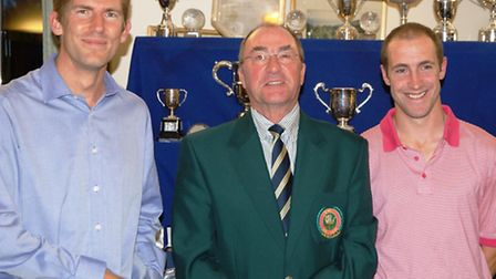 Easterbrook Eaton - medal winners for September Simon Knowles and Stuart Coles with club captain Joh