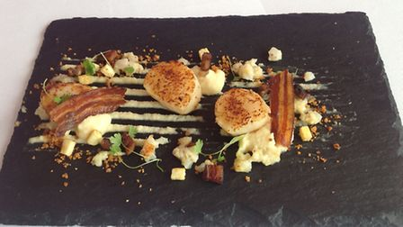Maia's winning dish: caramelised Brixham scallops with celeriac purée and crispy pancetta