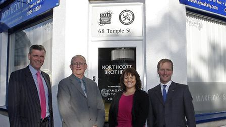 Clive Wakely,Peter Northcott,Penny Smith and Simon Walely outside the new funeral parlour in Temple