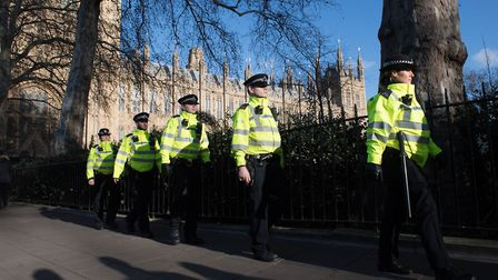 Metropolitan Police officers stand outside the Houses of Parliament in London. Photograph: Stefan Ro