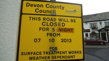 One of the signs on Broad Street warning of the road closure