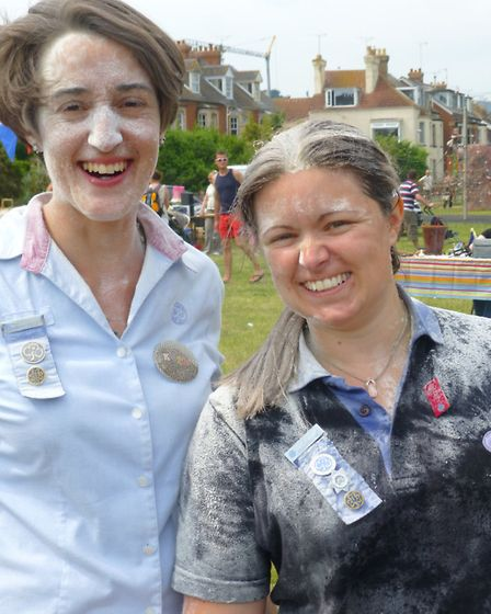 Nikki Peckham (district commissioner) on right and Kate Hamilton (left) pictured after joining in so