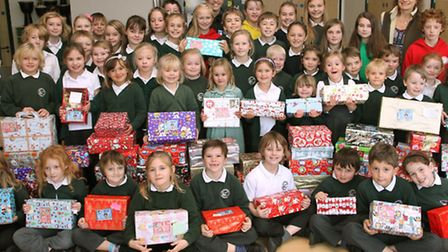 Children from Ottery St Mary primary school have brought in around 90 boxes for the Operation Christ