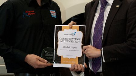 Mitchel Hayes (left) recevies his 'apprentice of the year' award. Picture: N7 Photography