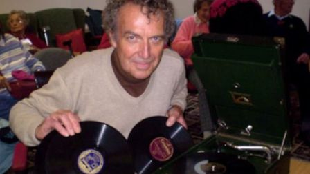 Andy Webb with his records at Sidmouth Memory Cafe