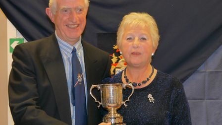 Bob Seldon, winner of the Sidmouth's men's Singles title with lady captain Val Newnham