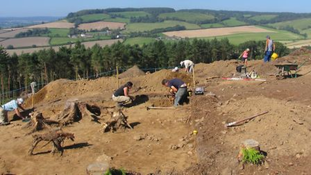 Volunteers at the High Peak archaeological dig