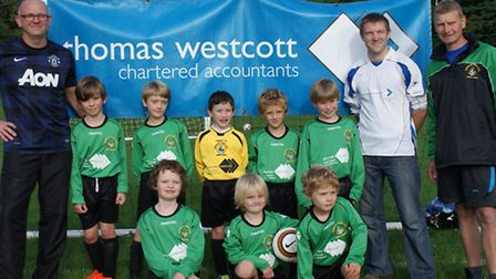 Sidmouth Town Raiders Under-8s; Back row. David Isherwood , Michal Bielawski, David Clapp, Liam Dalt
