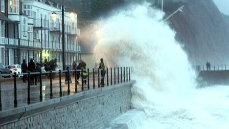 A huge wave crashed into Sidmouth seafront. Photo by Eve Mathews.