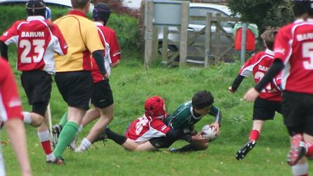 Degruchy scores for Sidmouth Under-14s in the defeat to Barnstaple