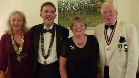 Ttop table guests includes (l to r) Sidmouth Rotary President Lynn Ellis, Lions president Graham Ro