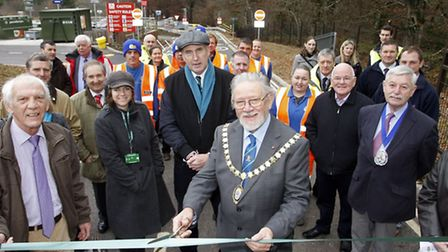 Councillor Bernard Hughes OBE officially opened the new recycling centre in Sidmouth. Photo by Terry