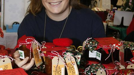 Sidmouth College student Megan Hook with her home made marmalades and chutneys at the college's rece