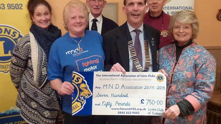Sidmouth Lions presenting the East Devon branch of the Motor Neurone Disease Association with a cheq