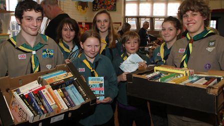 The Ottery Scouts annual jumble sale took place on Saturday, January 25. From left are Josh, Freya,