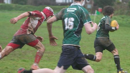 Rugby action Sidmouth Under-14s versus Barnstaple at Sidford