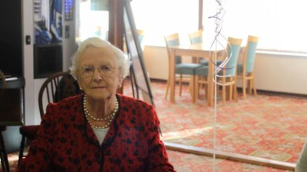 Phil Brightmore who was honoured with coffee and cake in recognition of her 100th birthday surrounde