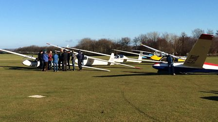 A busy launch point at North Hill airfield.