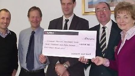 Cheque Presentation to Dr Duncan Hall, Dr Mike Slot and Dr Andrew Rosewarne by Sidmouth Golf Club ca