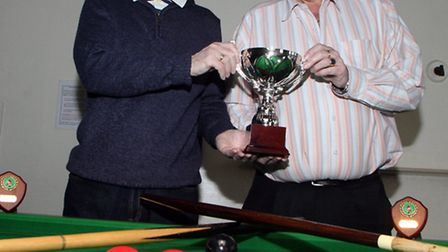 Evan Williams and Derek Trusdale celebrate after winning the doubles snooker tournament at Sidmouth