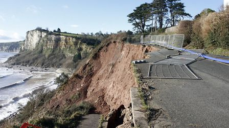 The latest landslip on the Old Beer Road. Photo by Terry Ife. Ref shb 1641-07-14TI To order your cop