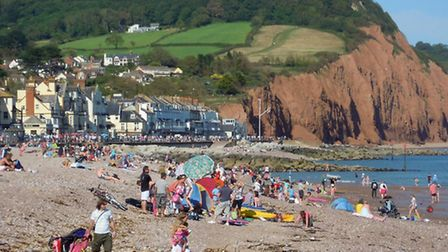 Sidmouth Beach in Summer
