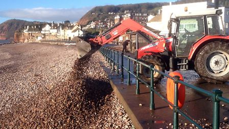Shingle is cleared from Sidmouth seafront
