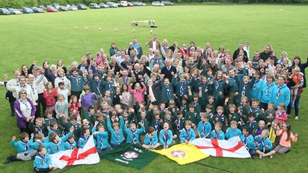 Ist Sidmouth scouts, their leaders, parents, councillors and members of the Rotary Club of Sidmouth