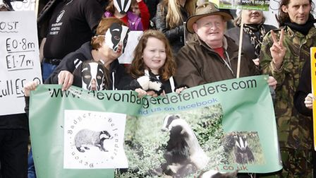 Badger protest at Devon County Hall. Photo by Terry Ife. Ref shs 1858-08-14TI To order your copy of