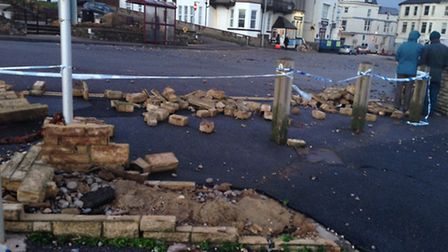 Masonry smashed by the high tide at Fisherman's Gap, Castle Hill, Seaton, where ferocious winds are