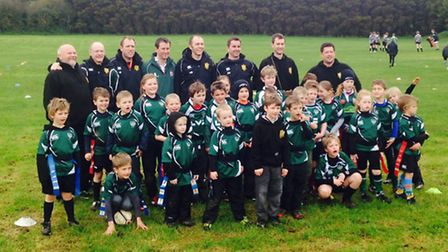 Sidmouth Under-7 and Under-8 players together with the remainder of the Cornwall tour party