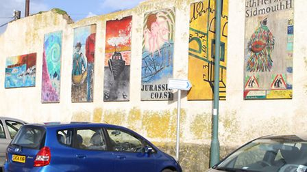 The murals at Sidmouth swimming pool car park. Picture by Alex Walton. Ref shs 5930-09-14AW