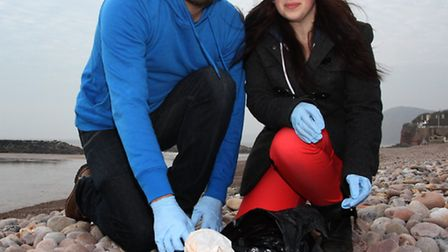 Ross Curwen organised a beach clean-up with Jemma Starmore in Sidmouth on Saturday. Surfers Against