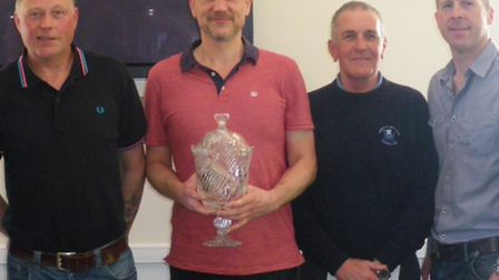 The Sidmouth winners, Kevin Howe, Martin Crockett, and Graham Rogers receive the John Griffiths Trop