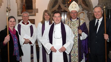 The Reverend Canon Dr Philip Bourne at his institution and induction with the Right Reverend Nichola
