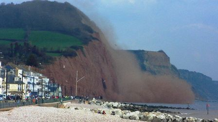 A huge cliff fall took place in Sidmouth on Wednesday. The drama was caught on camera by James Newma