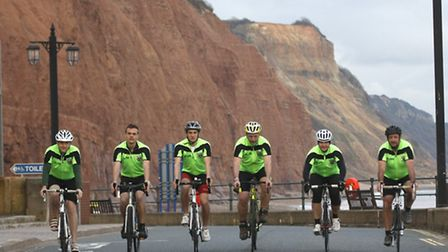 Sidmouth lifeboat cycle team set off from the lifeboat station. Photo by Terry Ife ref shs 3313-13-1