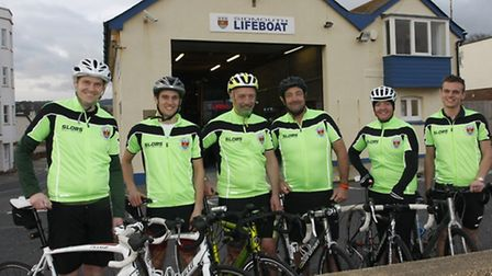 Sidmouth lifeboat cycle team before they set off from the lifeboat station. Photo by Terry Ife ref s