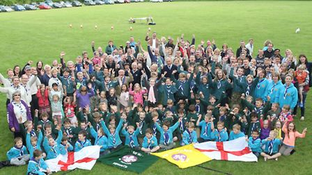 Sidmouth Scouts, their leaders, parents, councillors and members of the Rotary Club of Sidmouth are