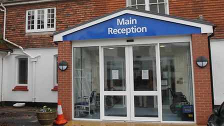 The new reception entrance at Sidmouth Hospital. Photo by Simon Horn. Ref shs 9136-02-14SH. To order